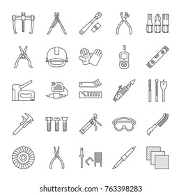 Construction tools linear icons set. Renovation and repair instruments. Thin line contour symbols. Emery paper, solderer, ratchet, bearing puller, spirit level. Isolated raster outline illustrations