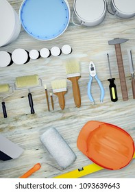Construction tools lying on a wooden surface. 3D illustration