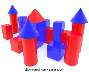 Construction of toy bricks and towers.3d illustration