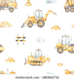 Construction vehicles, concrete truck, bulldozer, road roller, tractor on a white background. Watercolor seamless pattern