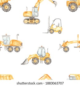 Construction vehicles, dump truck, grader, forklift, bulodozer, excavator on a white background. Watercolor seamless pattern