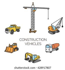 Construction vehicles set. Cartoon color illustration