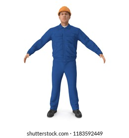 Construction Worker Wearing Blue Overalls. 3D Illusration, isolated
