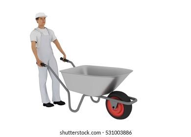 Construction worker with wheelbarrow, 3d illustration