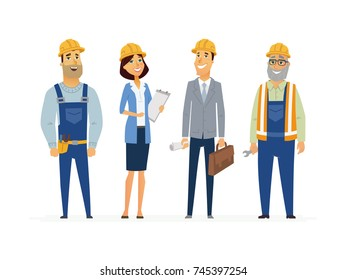 Construction Workers - colored modern flat illustrative composition of cartoon characters. Make a great presentation with these efficient builders, engineers and responsible business people.