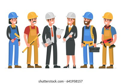 Construction workers team.