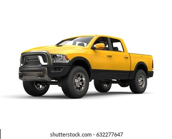 Construction yellow modern pick-up truck - 3D Illustration