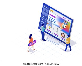 Constructor of web pages and websites. People in the flat 3d isometric style are working on creating the site. Easy to edit and customize. Modern template for website design. Bitmap image