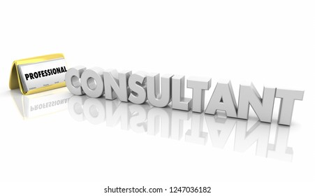 Consultant Business Card Holder Word 3d Illustration