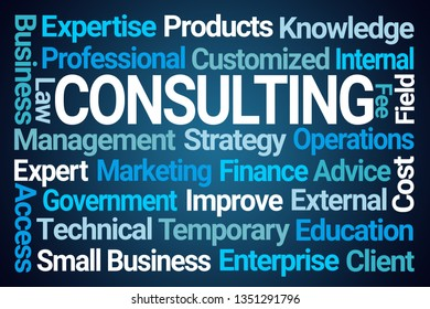 Consulting Word Cloud on Blue Background