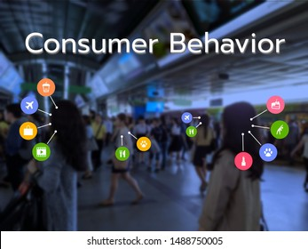 Consumer Behavior text with activity icons on blurred background. Faces of the people in image are blurred. The behaviors result from big data analytics and machine learning technology.