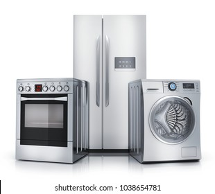 Consumer electronics stell. Fridge,washer and electric-cooker on white background. 3d illustration