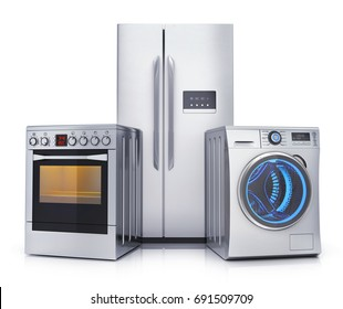 Consumer electronics stell.Fridge,washer and electric-cooker on white background. 3d illustration