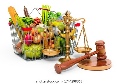 Consumer protection concept. Shopping basket full of products with wooden gavel and scales of justice. 3D rendering isolated on white background