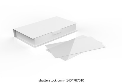 contact business cards in the closed cardboard box clean mock up template with free copy. 3d illustration