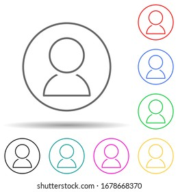 Contact in circle multi color set icon. Simple thin line, outline illustration of web icons for ui and ux, website or mobile application