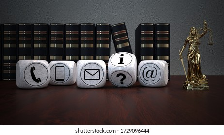 Contact details of the law firm. 3d illustration.