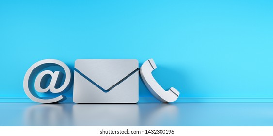 Contact icons leaning against a wall - communications symbols - 3D illustration