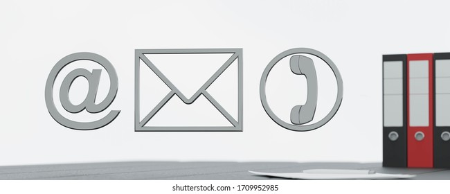 Contact Methods. Close-up Of A Phone, Email and Post Icons on office desk background 3d illustration render