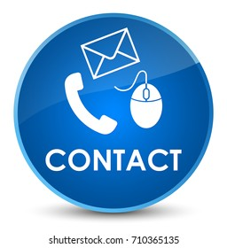 Contact (phone email and mouse icon) blue isolated on elegant round button abstract illustration