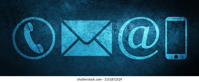 Contact us icon (phone, email, email address and smartphone) isolated on special blue banner background abstract illustration