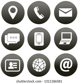 Contact us icons. Simple flat icons set on white background