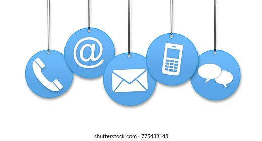 Contact us page concept on a white background