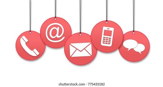 Kontaktieren Sie uns Seitenkonzept auf weißem Hintergrund