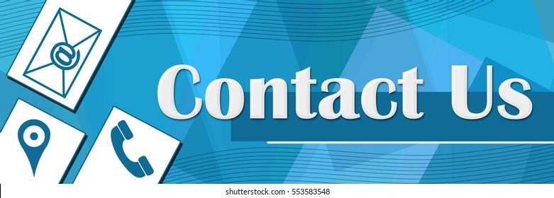 Contact Us Random Shapes Blue Background