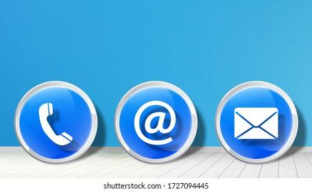 Contact us symbols 3d design on blue background