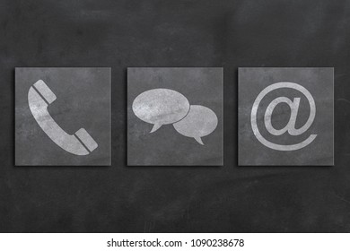 contact us symbols with on dark background