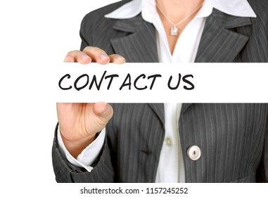 """contact us"" text written on white board. Business concept."
