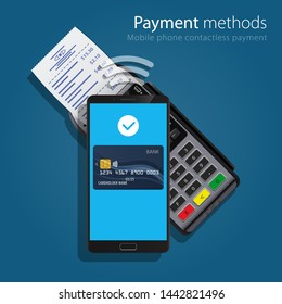 Contactless Payment Methods NFC pay Mobile smart phone and wireless POS Terminal realistic style icons. Design concept of process contact less payments. illustration
