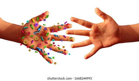 Contagious diseases spread hygiene concept as hands with germ virus or bacteria spreading with illness in public as a community transmission exposure as infected people with 3D illustration elements.