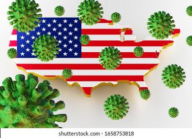 Ansteckende HIV AIDS, Flur oder Coronavirus mit US-Karte. Coronavirus aus der Chine. 3D-Rendering