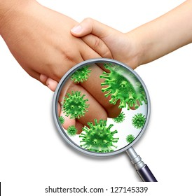 Contagious virus infection with children hands holding and touching spreading dangerous infectious germs and bacteria with a magnifying glass close up on a white background.