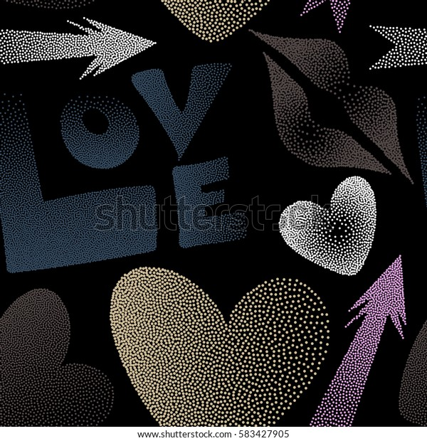 Contain hearts, cupid's arrow, lipstick kisses and love word on a black backdrop. Valentine's day art. Seamless pattern abstract love elements in blue and brown colors.