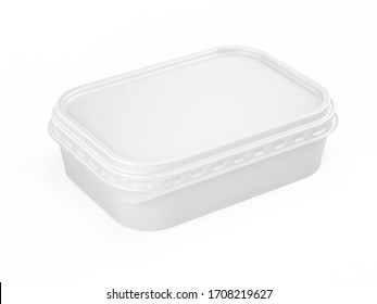 Container for butter, melted cheese, margarine. White plastic box for your design mockup template. isolated on white. 3d rendering