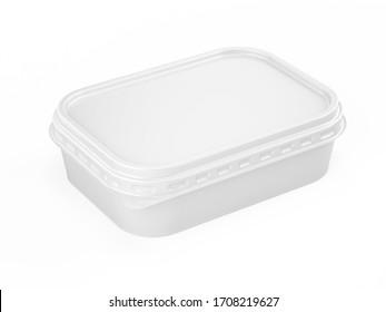 Behälter für Butter, geschmolzenen Käse, Margarine. Weiße Plastikbox für Ihre Design-Modell-Vorlage. einzeln auf Weiß. 3D-Rendering