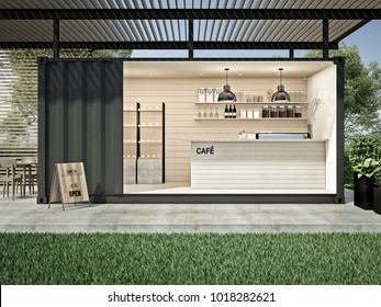 Container cafe in garden 3D render