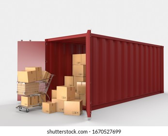 Container cargo shipping logistic service containers with brown cardboard boxes package delivery in the online e-commerce business. Concept of Marketing and Digital communication. 3d rendering