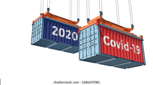 Container with Coronavirus Covid-19 text on the side. Concept of international trade spreading the Corona virus. 3D Rendering