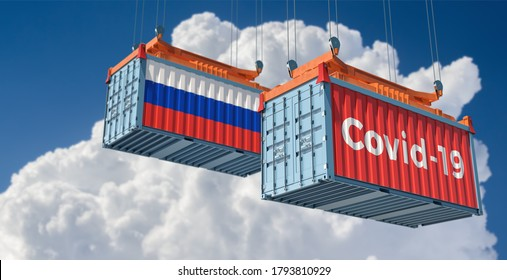Container with Coronavirus Covid-19 text on the side and container with Russia Flag. Concept of international trade spreading the Corona virus. 3D Rendering