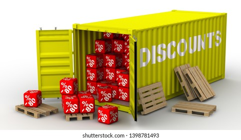 Container with eighty percentage discounts. Full yellow cargo container labeled with white word DISCOUNTS and filled with eighty percentage discounts. Isolated. 3D Illustration