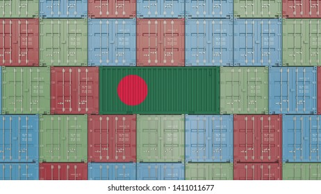Container with flag of Bangladesh. Bangladeshi import or export related 3D rendering