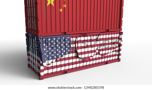 Container Flag China Breaks Cargo Container Stock Illustration