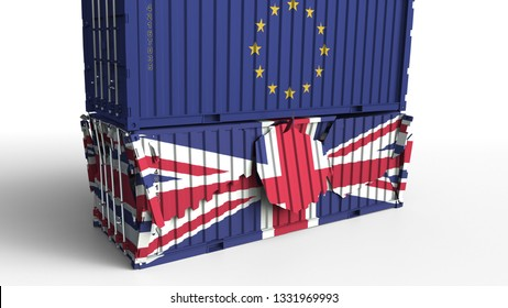 Container with flag of the European Union breaks cargo container with flag of the United Kingdom. Trade war or economic conflict related conceptual 3D rendering