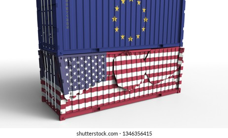 Container with flag of the European Union breaks cargo container with flag of the USA. Trade war or economic conflict related conceptual 3D rendering