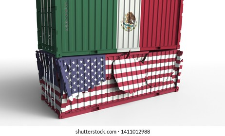 Container with flag of Mexico breaks cargo container with flag of the United States. Trade war or economic conflict related conceptual 3D rendering