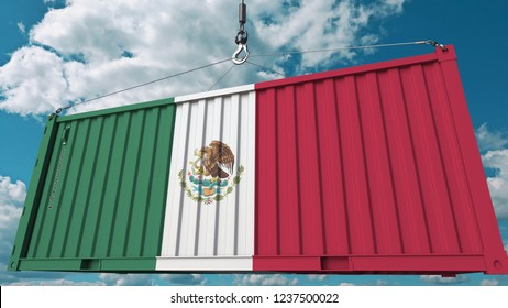 Container with flag of Mexico. Mexican import or export related conceptual 3D rendering